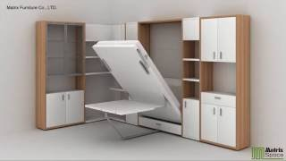 getlinkyoutube.com-Matrix Space Wall Bed Murphy Bed Space Saving Furniture Collection 2016