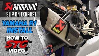 getlinkyoutube.com-Akrapovic Slip On Exhaust Install on a Yamaha YZF-R1 from Sportbiketrackgear.com