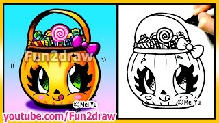 getlinkyoutube.com-Cute Candy Bucket  - How to Draw Halloween Easy Stuff Pictures - Pumpkin Best Fun2draw Drawings