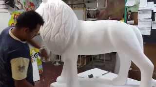 getlinkyoutube.com-Figura león 3D  tallado artes en icopor cristofer ( cristobal fontecha)