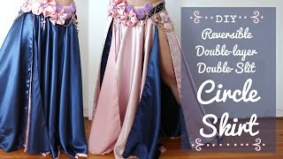 getlinkyoutube.com-DIY Circle Skirt - Reversible! Double-Layer! Double-Slit!