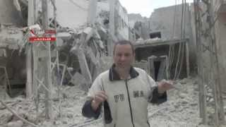 حلب نيوز || الشيخ خضر : شاهدوا ردة فعل غريب لمدني قصف شارع منزله 1 6 2014