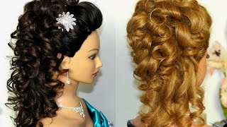 getlinkyoutube.com-Bridal, prom hairstyle for long hair. Curly hairstyle.