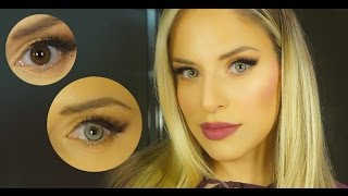 getlinkyoutube.com-Best Colored Contacts for Dark Brown Eyes - Solotica Quartzo | Gray Blue