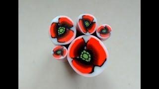 getlinkyoutube.com-Murrina amapola en arcilla polimérica - Polymer clay poppy cane