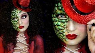 getlinkyoutube.com-Reptile Ringmaster Circus Freak Halloween Makeup Tutorial | Jordan Hanz