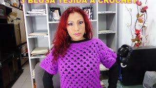 getlinkyoutube.com-COMO TEJER ESTA LINDA BLUSAS MORADA TEJIDA A CROCHET PASO A PASO