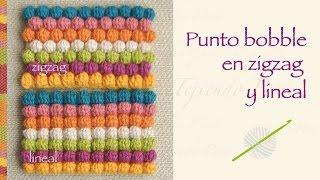 getlinkyoutube.com-Punto garbanzo o bobble stitch a crochet en zigzag y en forma lineal!
