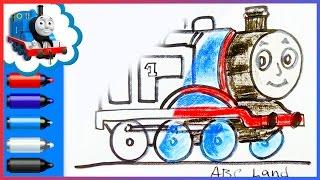 getlinkyoutube.com-Thomas and Friends ♦ How to Draw Thomas the Tank Engine ♦ Animated Drawing Tutorial