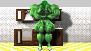 3d animation of She-Hulk aka Green Jenny in the kitchen