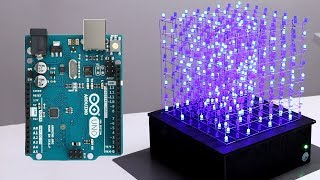 8x8x8 LED CUBE WITH ARDUINO UNO width=