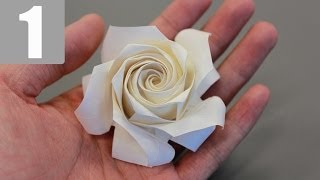 getlinkyoutube.com-Part1/3 : How to fold Naomiki Sato Origami Rose (Pentagon Rose) 佐藤直幹 摺紙玫瑰教學