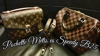 getlinkyoutube.com-Louis Vuitton Comparison: Speedy 25 Bandouliere & Pochette Metis | FashionablyAmy