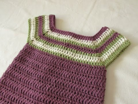 How to crochet a little girl's square neck dress /  tunic