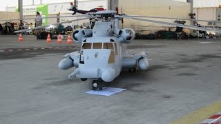 getlinkyoutube.com-Giant scale MH53 Pave Low R/C Model Helicopter roll Start uncut flight