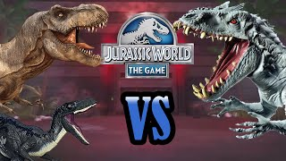 getlinkyoutube.com-Rexy & Blue VS Indominus Rex!! | DINO BATTLES! | Jurassic World - The Game | #1