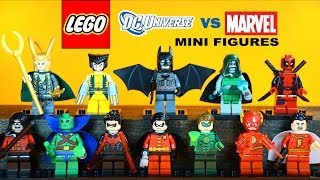 getlinkyoutube.com-LEGO Marvel vs DC Superheroes KnockOff Minifigures w/ Batman Robin & Wolverine