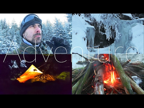 Epic Snowshoe Hike frozen Waterfall, delicious Camp Food - Solo Winter Camping in the Forest | Day 3