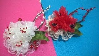getlinkyoutube.com-D.I.Y. Organza & Lace Flower - Tutorial | MyInDulzens