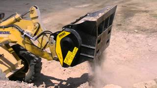getlinkyoutube.com-MB-L Crusher Bucket working on a backhoe loader