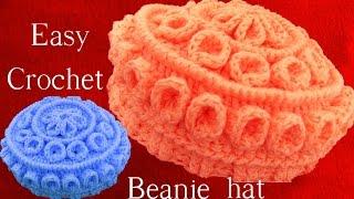 getlinkyoutube.com-Como hacer Gorro Boina tejido a Crochet o Ganchillo con relieves en capas