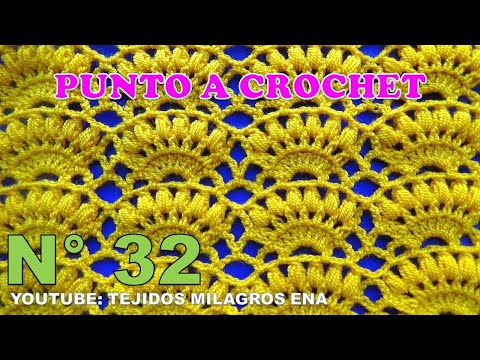 Punto a crochet Combinación de Abanicos con puntos Garbanzos paso a paso
