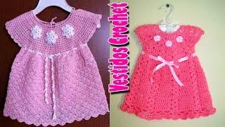 getlinkyoutube.com-Vestidito de niña Tejidos a Crochet