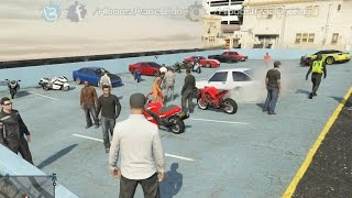 getlinkyoutube.com-Grand Theft Auto V Online (PS3) | Street Car/Bike Meet | Hakuchou Build, Drag Racing & More