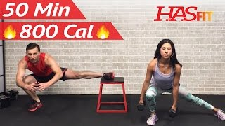 getlinkyoutube.com-50 Min Total Body Strength Workout with Weights - Full Strength Training for Women Men Home Dumbbell