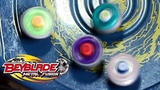 getlinkyoutube.com-Beyblade Battle Royal #3 Rock Leone vs Lightning L drago vs Earth Eagle vs Flame Libra!