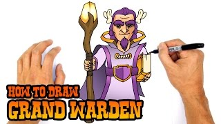getlinkyoutube.com-How to Draw Grand Warden | Clash of Clans