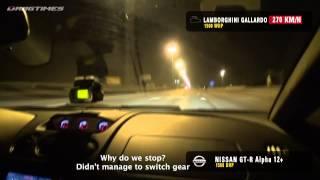 getlinkyoutube.com-Nissan GT-R vs. Lamborghini Gallardo Nera Twin Turbo (Street Racing - Over 360km/hr!)