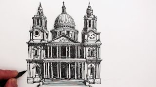 getlinkyoutube.com-How to Draw Buildings: St. Paul's Cathedral