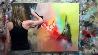 """Démonstration de peinture abstraite (5) Elisabeth - Toile """"Fiction"""""""