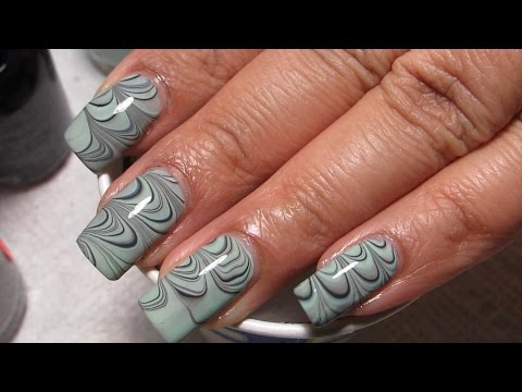 Mint Green, Black & Grey Water Marble Nail Art Tutorial (Water Marble March 2015 #1)