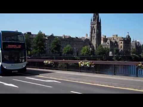 Double Decker Bus Cars Tractors Crossing Queen's Bridge Perth Perthshire Scotland