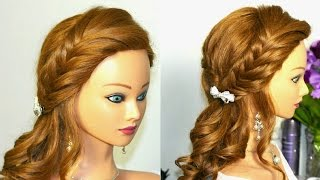 getlinkyoutube.com-Curly  prom hairstyle for long hair with braids