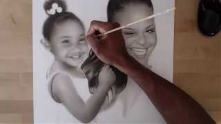 getlinkyoutube.com-Speed Drawing Portrait of Christina Milian & Violet Nash