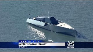 getlinkyoutube.com-Mysterious Black Stealth Ship Prowls San Francisco Bay, A Harbinger Of Yachting's Future