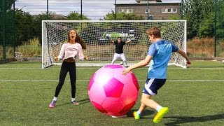 getlinkyoutube.com-GIANT FOOTBALL CHALLENGES vs MY SISTER