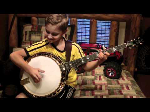9 Year Old Jonny Mizzone - Sleepy Man Banjo Boys - Pretty Polly Practice