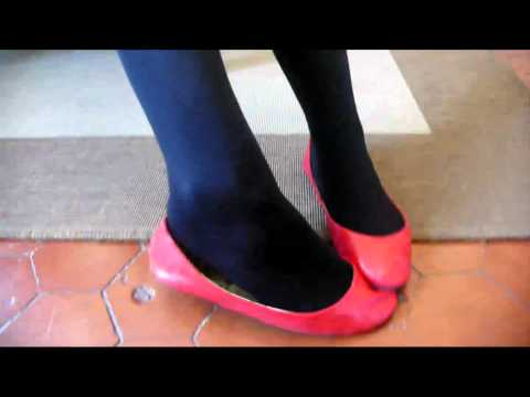 red ballerinas shoeplay black nylon