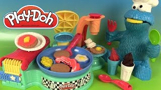 getlinkyoutube.com-Pâte à modeler Play Doh Petit Déjeuner Flip N Serve Breakfast Gauffres Pancakes