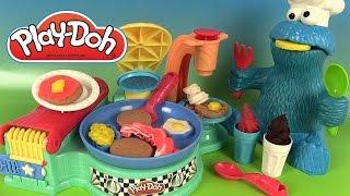 getlinkyoutube.com-Pâte à modeler Play Doh Petit Déjeuner Flip N Serve Breakfast Gauffres Pancakes