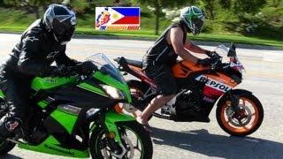 getlinkyoutube.com-Kawasaki NINJA 300 Versus Honda CBR 250R DRAG RACE