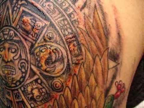 tatuaje terminado calendario azteca el piraña en cancún
