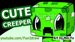 getlinkyoutube.com-Cute CREEPER! How to Draw a Minecraft Creeper - Fun2draw style