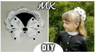 getlinkyoutube.com-DIY: Резинка на гульку-пучок из цветов Канзаши/The elastic on the bun from flowers Kanzashi