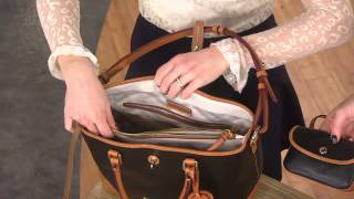 getlinkyoutube.com-Dooney & Bourke Embossed Pebble Leather Shelby Shopper with Courtney Cason