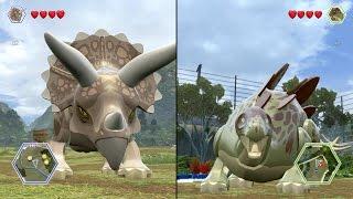 getlinkyoutube.com-LEGO Jurassic World - Stegosaurus  vs Triceratops - CoOp Fight | Free Roam Gameplay [HD]